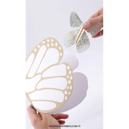 Magic Flyer Card Gold met Tattoo vlinder green Copper copyright sendyouhappiness.com