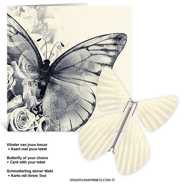 Kaart Butterfly Wishes 001 inclusief Magic Vlinder