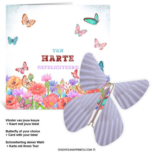 Kaart Butterfly Wishes 004 inclusief Magic Vlinder