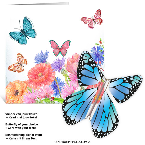 Kaart Butterfly Wishes 005 inclusief Magic Vlinder