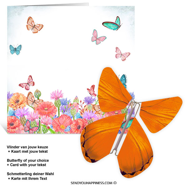 Kaart Butterfly Wishes 006 inclusief Magic Vlinder